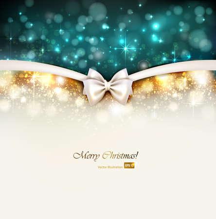 white christmas: Kerst glans achtergrond met strik Stock Illustratie