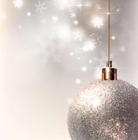evening ball: light Christmas background with light gray evening ball