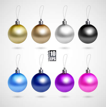 christmas ball: Set of eight evening balls colorful symbol  Illustration