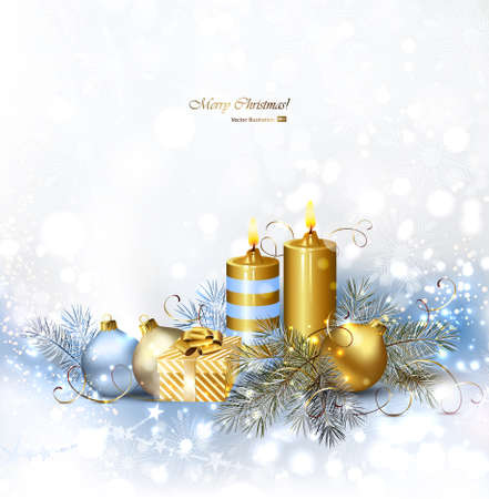 glimmered: Light Christmas background with burning candles and Christmas bauble