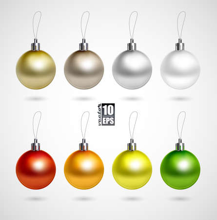 christmas sphere: Set of eight evening balls colorful symbol  Illustration