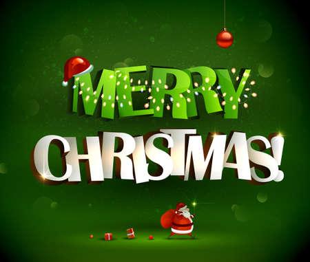 Vrolijk kerstfeest inscriptie en Santa Claus met geschenken