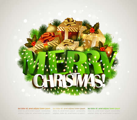 Merry Christmas composition with gifts and garlands Vector