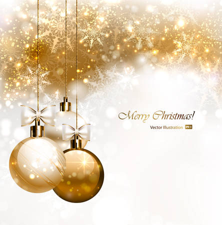holiday celebration: Christmas background with three Christmas baubles