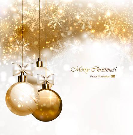 Kerst achtergrond met drie kerstballen Stock Illustratie
