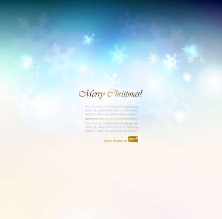 Christmas abstract blue background with snowflakes  Vector