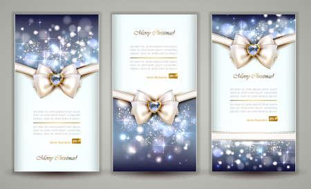 mo�o blanco: Tres tarjetas elegantes de felicitaci�n de Navidad con el arco y la joyer�a Vectores
