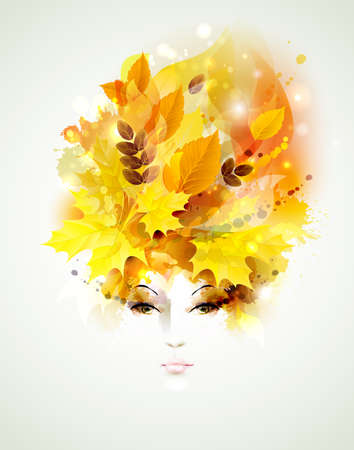 Beautiful women in autumn circlet of leaves Ilustração