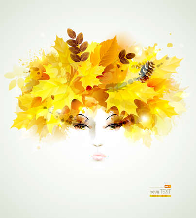 Beautiful women in autumn circlet of leaves Vector
