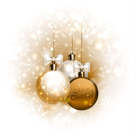 glimmered: Christmas background with three Christmas baubles
