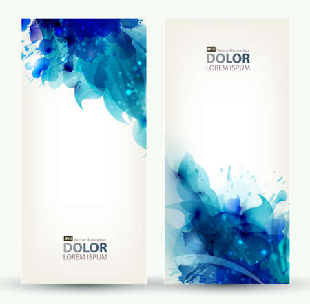 set van twee banners, abstracte headers met blauwe vlekken