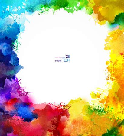 absract Regenbogen-Rahmen Aquarell Blots Vektorgrafik