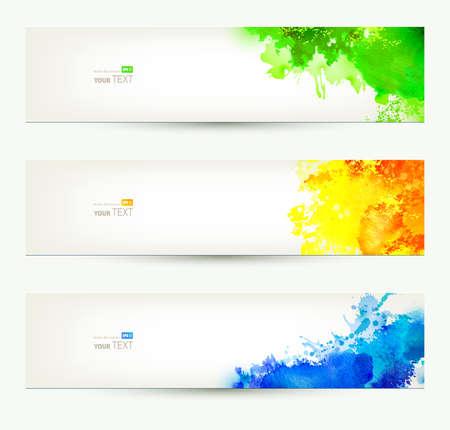 세 가지 다채로운 헤더 시즌 배너의 집합