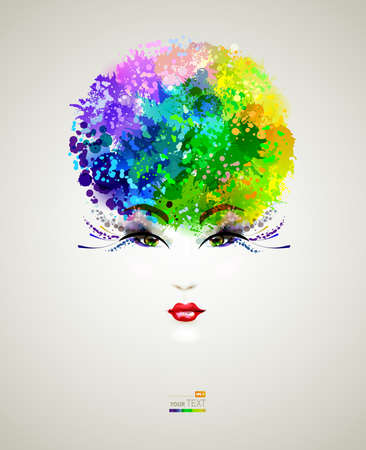 fashionable girl with dyed vivid hair  Illustration