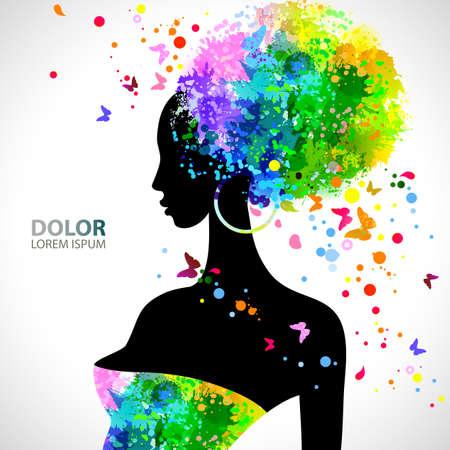 black hair: Verano decorativa composición con la chica