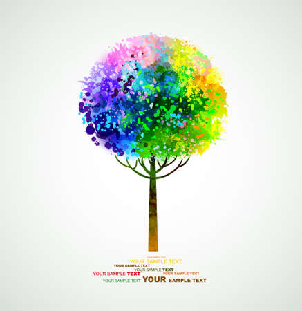 rainbow abstract tree forming by blots