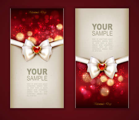 Valentines Day two cards with jewelry and bow  Vector