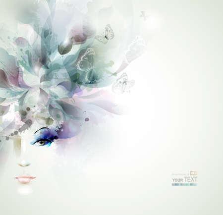 아름 다운 패션 여자는 추상적 인 요소와 나비와 얼굴