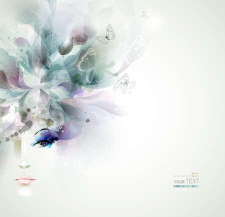 Beautiful fashion women face with abstract elements and butterflies  Ilustração