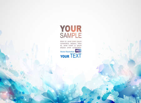 blue abstract background forming by blots and design elements Vector