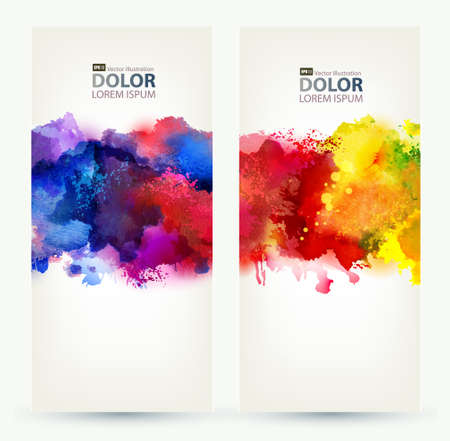 Two headers  Bright watercolor stains  Vector