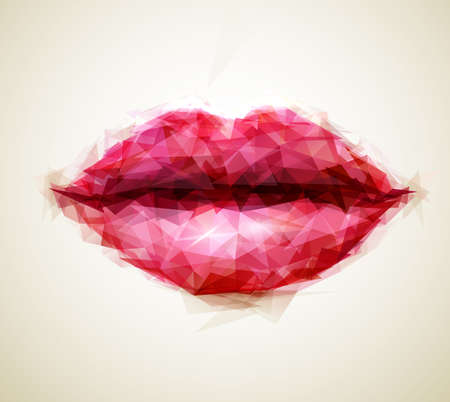 lip kiss: Beautiful woman lips formed by abstract triangles