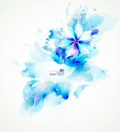 Light abstract blue poster with flower