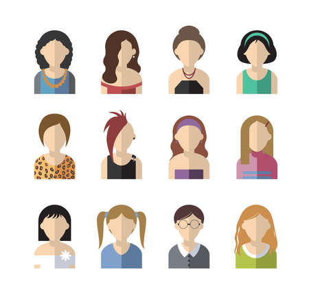 goth girl: set of twelve flat design icon women Illustration
