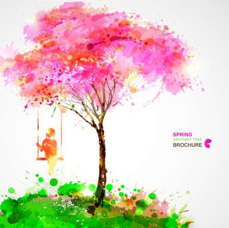 봄 꽃이 만발한 나무. 스윙에 꿈꾸는 소녀. 일러스트