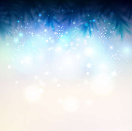 Shiny Christmas background with fir-tree Vector