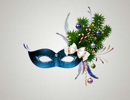 stranger: theatrical mask with christmas decorated branch