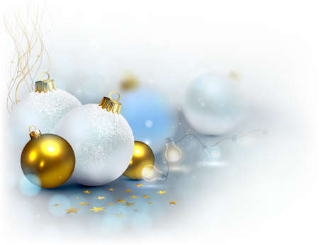 glimmered: Light background with Christmas baubles