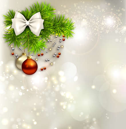 Holiday background with two Christmas baubles and beads