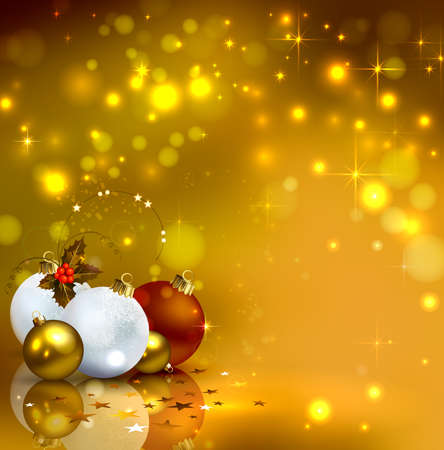 glimmered: gold background with Christmas baubles