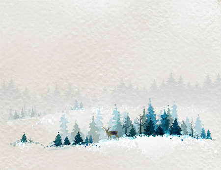 winter card: winter landscape with fir forests and deer