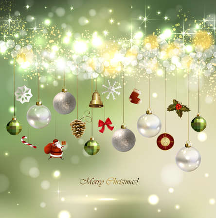 holly day: light Christmas background with baubles Illustration