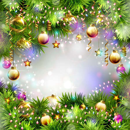 firtrees: Christmas backgrounds with evening balls, garlands and fir-trees branches Illustration