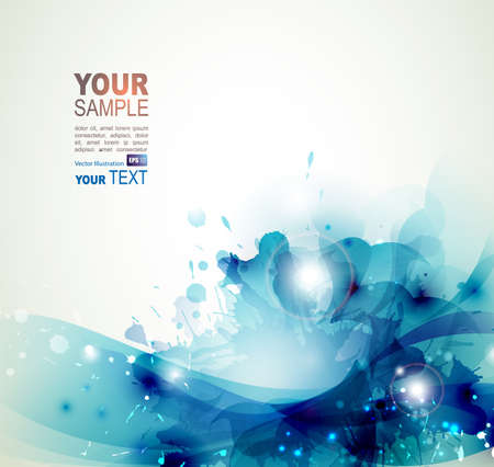 Blue watercolor stains abstract background
