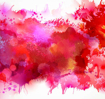 dripping paint: Bright watercolor stains with red blots