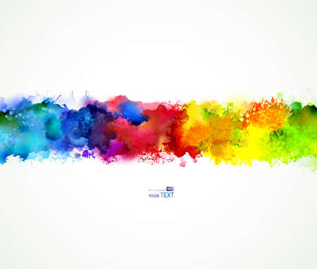 splatter paint: Bright watercolor stains. Rainbow blend.