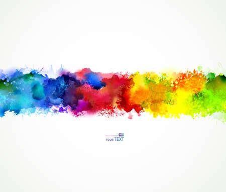 Manchas brilhantes da aguarela. Mistura do arco-íris. Ilustração