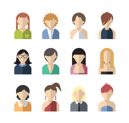 set of twelve flat design icon women Stock Illustratie