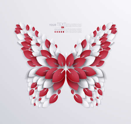 decorative butterfly formed leaves. Paper design Vector