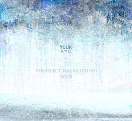 grunge blue scratching interior, vector background Illustration