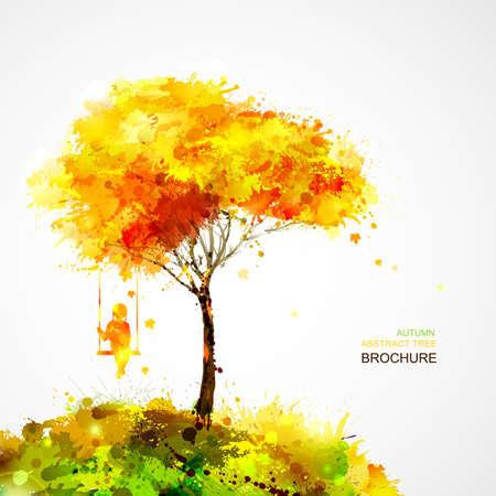 podzimní strom. Snění dívka na houpačce