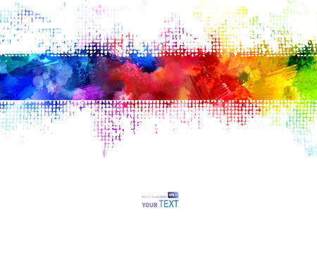 background grunge: Bright watercolor strip. Rainbow stains Illustration