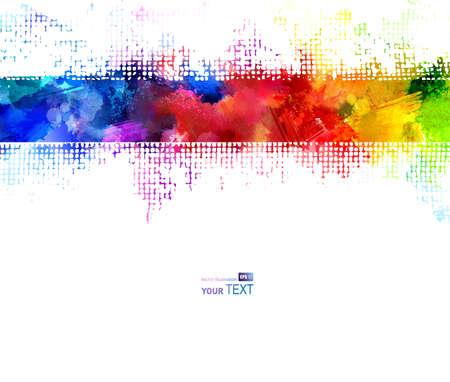 arco iris: Tira acuarela brillante. Manchas del arco iris Vectores