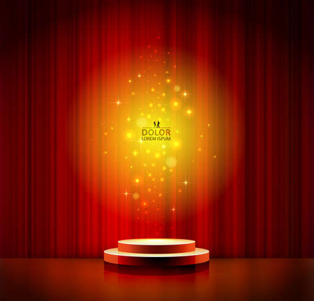 curtain to theater stage: red spotlight effect scene background Illustration