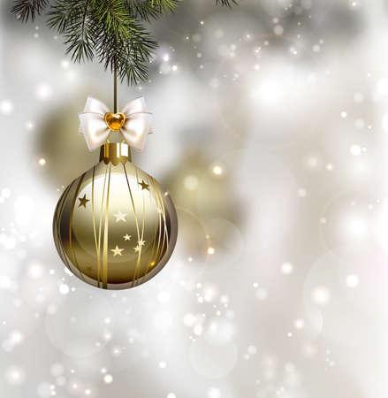 glommen Kerst achtergrond met 's avonds ballen Stock Illustratie