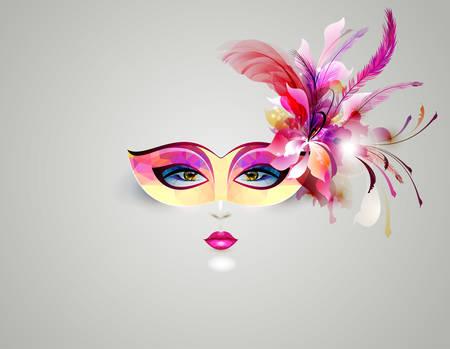 antifaz de carnaval: cara de la mujer en una máscara teatral